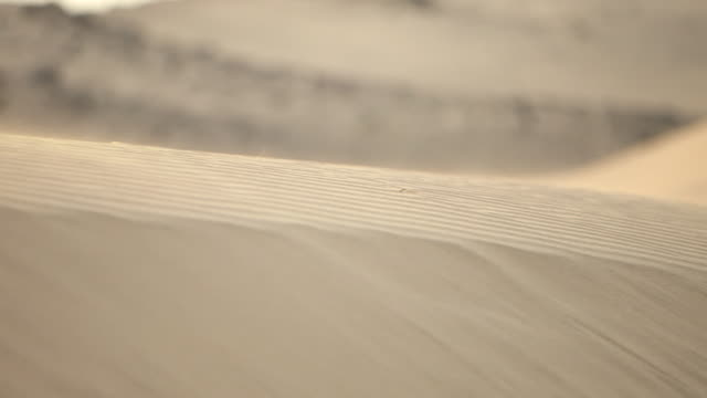 pan-left of wind blowing sand from a dune in the desert. - jiddah点の映像素材/bロール