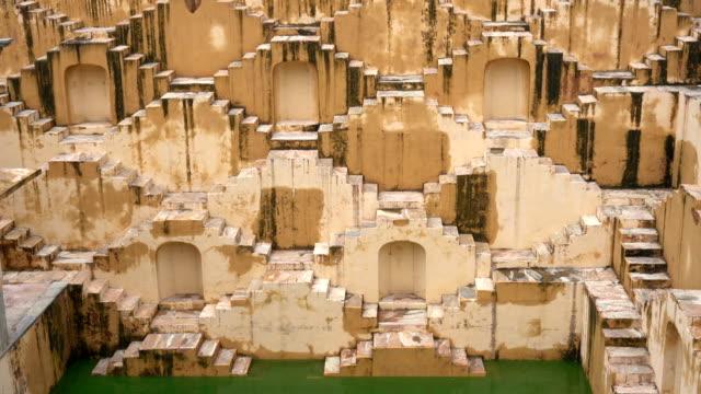 panna meena ka kund stepwell in jaipur, india - staircase stock videos & royalty-free footage