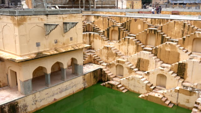 panna meena ka kund stepwell in jaipur, india - monument stock videos & royalty-free footage