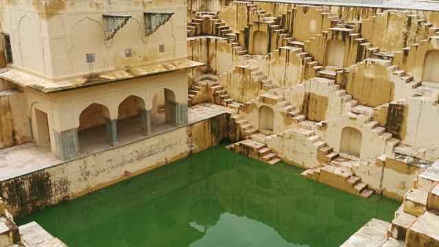 panna meena ka kund stepwell in jaipur, india - cultures stock videos & royalty-free footage