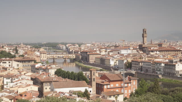 panned tl across the city of florence from piazzale michelangelo, italy. - fiore stock videos & royalty-free footage