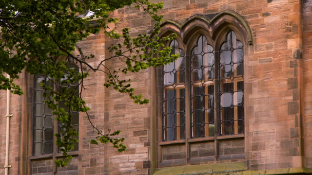 panning a lush green tree and the outside wall of glasgow university, with red sandstone bricks and arched windows - stone object stock videos & royalty-free footage