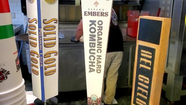 panning across beer tap handle for hard kombucha beverage in walnut creek, california, january 17, 2020. - handle stock videos & royalty-free footage