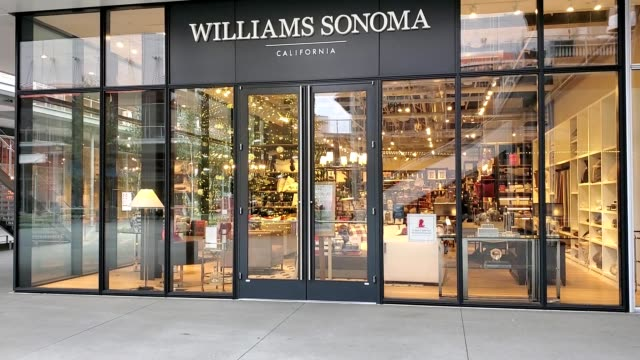 panning across facade with logo at williams sonoma retail store in the city center bishop ranch shopping center in san ramon california november 30... - ranch logo stock videos & royalty-free footage