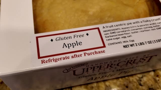 panning across logo for gluten free pie during preparation of a traditional american thanksgiving holiday meal, san ramon, california, november 23,... - gluten free stock videos & royalty-free footage