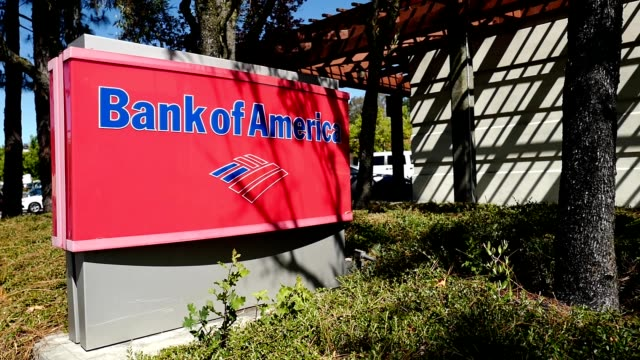 panning across sign for bank of america at bank branch in lafayette california july 16 2019 - bank of america stock videos and b-roll footage