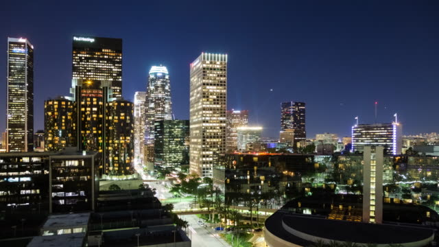 Panning Across the Downtown Los Angeles Skyline at Night