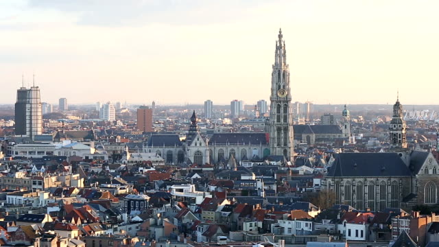 HD Panning: Aerial Antwerp ancient town Belgium at dusk