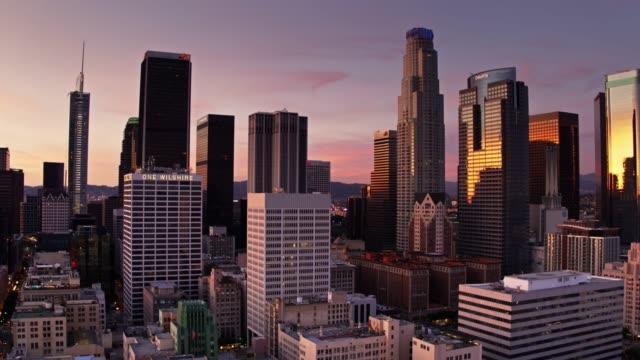 panning aerial of downtown los angeles - establishing shot stock videos & royalty-free footage