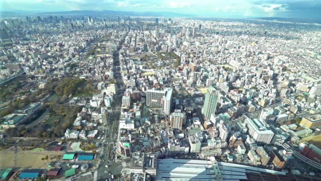 Luchtfoto Osaka Cityscape van Tennoji pannen in actie