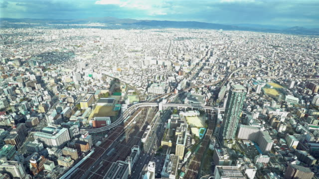 Panning Aerial Osaka Cityscape from Tennoji in action