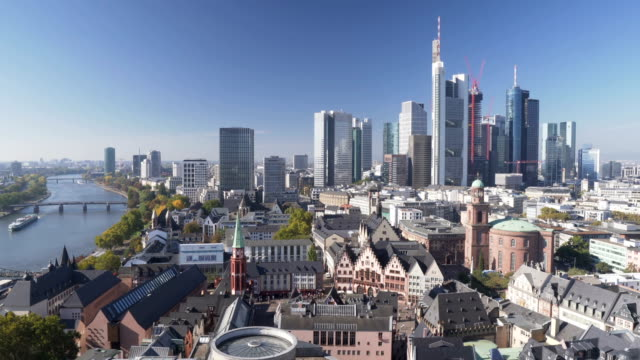 panning aerial view: Cityscape of Frankfurt in morning when autumn is coming , Germany