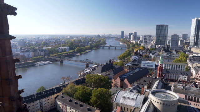 panning aerial view: main river of cityscape of frankfurt, germany in morning - frankfurt main stock videos & royalty-free footage