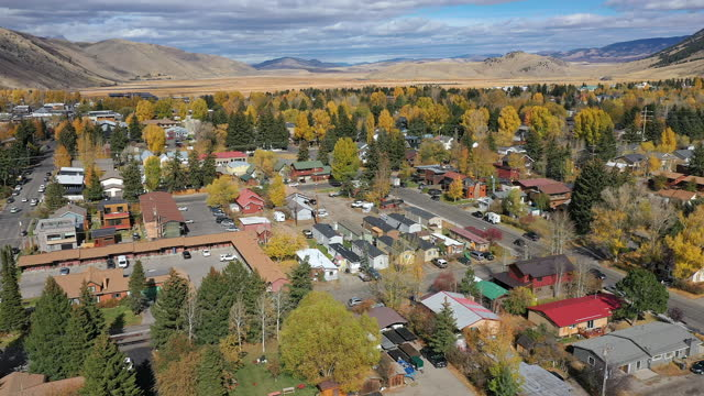 panning aerial view of jackson hole wyoming - wyoming stock videos & royalty-free footage