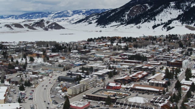 panning aerial view of jackson, wyoming - jackson hole stock-videos und b-roll-filmmaterial
