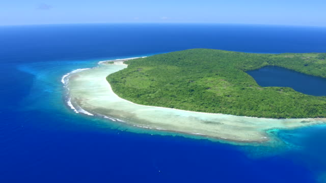 Panning Aerial View of Santa Ana, Solomon Islands