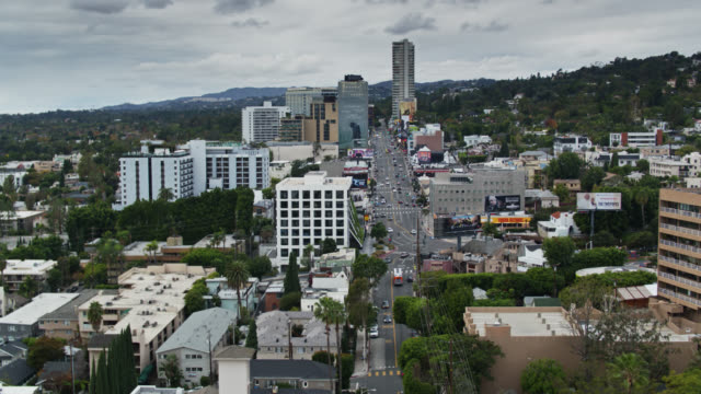panning aerial view of west hollywood and the sunset strip - west hollywood stock-videos und b-roll-filmmaterial