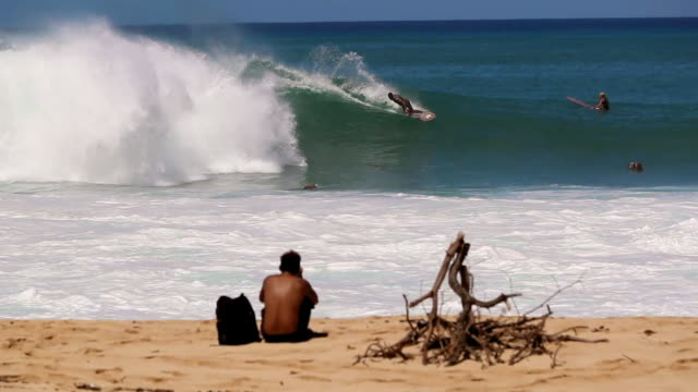 panning along a sandy beach with a view of a surfer catching a wave - pipeline stock videos & royalty-free footage