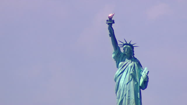 panning and aerial shots of the statue of liberty - statue of liberty new york city stock videos & royalty-free footage