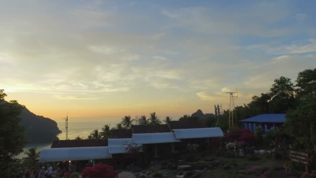 panning around ko tao archipelago, from coast, at sunset - anchored stock videos & royalty-free footage