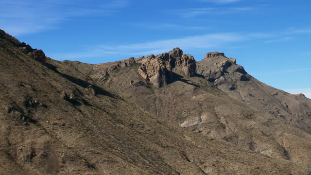 panning away from panther peak and wright mountain around the side of pummel peak, big bend national park, texas. - basin and range province stock videos and b-roll footage