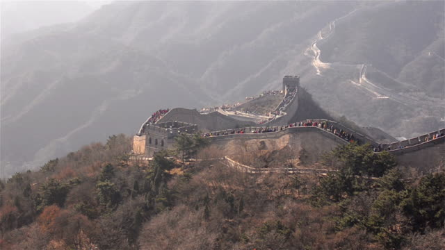panning: Badaling great wall of china in much pollution day