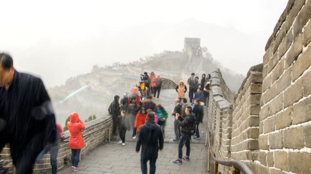 panning: Badaling great wall of china under snow storm