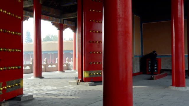 panning: big and red gate of forbidden city