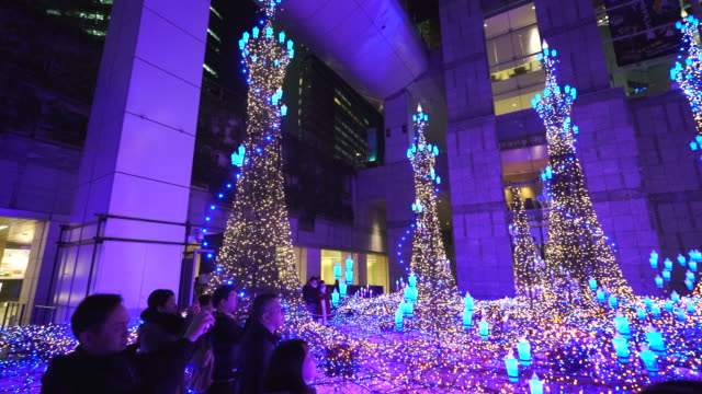 Panning camera captures people enjoying to watching and photographing the Caretta Illumination Show, which is illuminated by approximately 250,000 LED lights every 20 minutes in Caretta Shopping Mall Shiodome Tokyo Japan on January 16 2018.