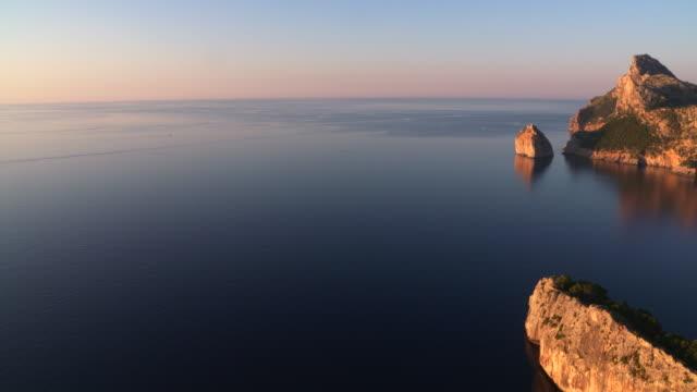 Panning. Cap de Formentor at the north coast of Mallorca at sunset..