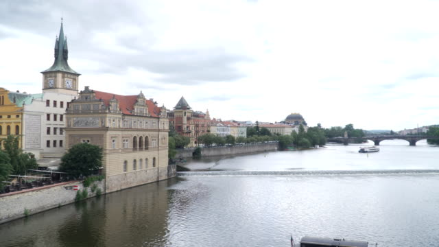 panning: city of prague along the vltava river - hradcany castle stock videos and b-roll footage