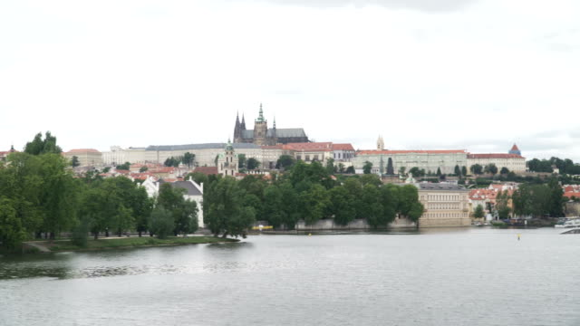 panning: city view of prague under cloudy - hradcany castle stock videos and b-roll footage