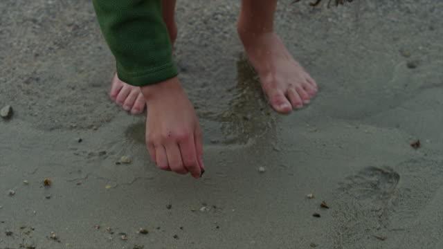 vídeos y material grabado en eventos de stock de panning close up of girl drawing in sand / redfish lake, idaho, united states - cabello recogido