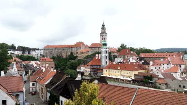 パン: チェス・クルムロフ町の曇りの景色 - ヴルタヴァ川点の映像素材/bロール