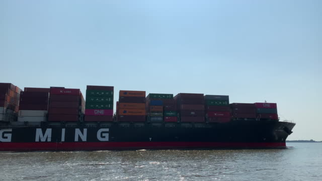 panning container ship on the elbe river near hamburg - boundary stock videos & royalty-free footage