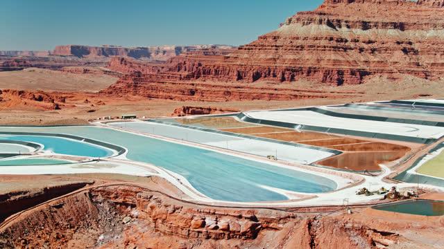 panning drone shot of evaporation ponds at potash mine near moab, utah - utah stock videos & royalty-free footage