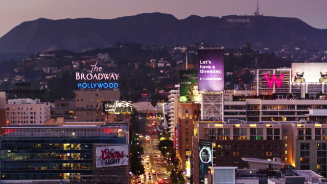 Panning Drone Shot of Hollywood Just After Sunset