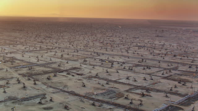 Panning Drone Shot of Oil Field in California Central Valley