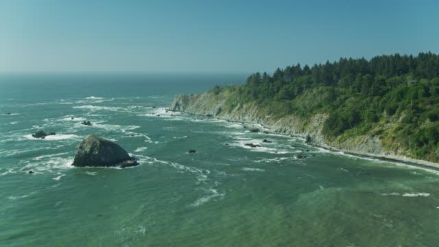 vídeos de stock, filmes e b-roll de drone de panning disparado da costa de redwoods, califórnia - sequoia sempervirens