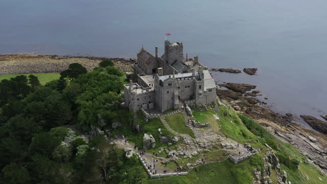 panning drone shot showing st michael's mount, cornwall, united kingdom - boundary stock videos & royalty-free footage