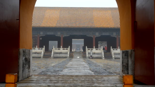 panning: entrance of tombs from the ming dynasty under air pollution - ming tombs stock videos and b-roll footage