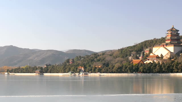 panning: forzen lake in Beijng Summer Palace