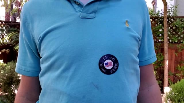 panning from face of millennial age caucasian male voter wearing cloth face mask to i voted sticker in outdoor setting on election day for the 2020... - millennial generation stock videos & royalty-free footage