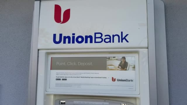 panning from logo for western bank union bank to union bank automated teller machine in san ramon california january 12 2018 - pin entry stock videos & royalty-free footage