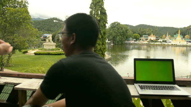 panning: good view to relax while using notebook - mae hong son province stock videos and b-roll footage