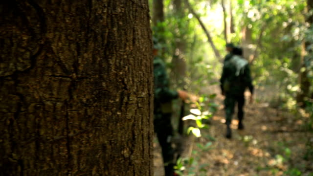 panning: group of fully Equipped and Armed Soldier is walking in tropical forest