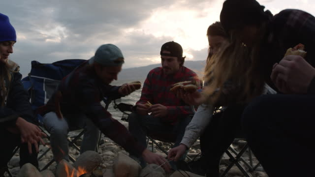 panning group of young family and friends sitting around campfire - storytelling stock videos and b-roll footage
