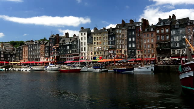 hd panning: honfleur cityscape normandie france - normandy stock videos and b-roll footage