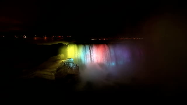 HD panning: Illumination light of Horseshoe Niagara Falls, Ontario, Canada