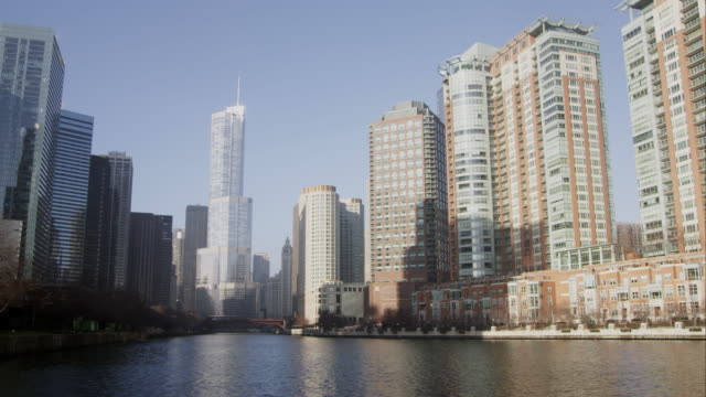 Panning left shot of downtown Chicago featuring the Trump building.